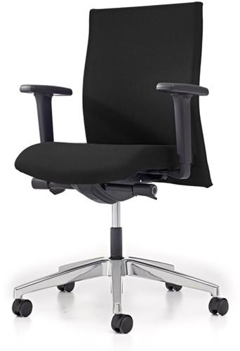 Bureaustoel Se7en gestoffeerd - Zwart (Lucia 5800) - Aluminium gepolijst - Zitdiepteverstelling