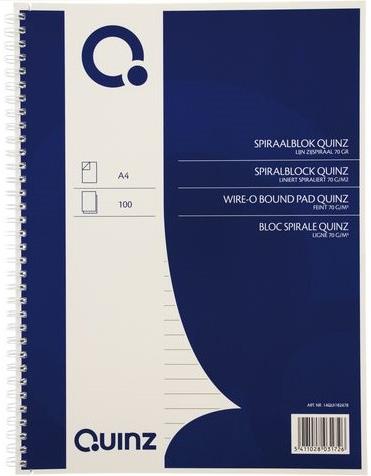 Spiraalblok Quinz A4 gelinieerd met zijspiraal
