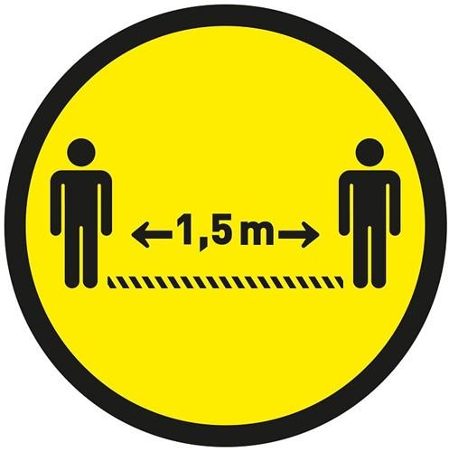 Vloersticker 1,5m afstand Ø300mm geel/zwart