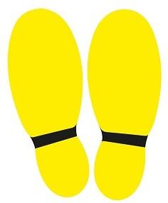 Vloersticker voeten geel/zwart set à 2