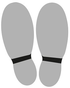 Vloersticker voeten grijs/zwart set à 2